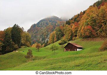 Rural autumn scene near Brienz, Bernese Oberland. - Colorful...