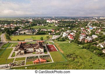 rural, bâtiment, prescool, vue, résidentiel, area., aérien, nouveau