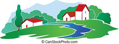 Rural background with little village