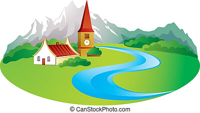 Rural background with village in the mountain
