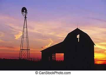 Rural Barn at Sunset
