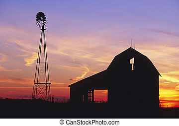 Rural Barn at Sunset