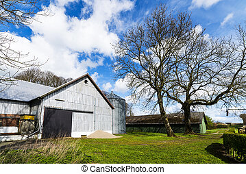 Rural barnyard with a silo