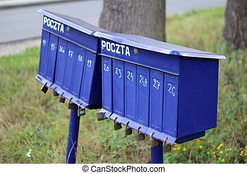 Rural blue mailboxes