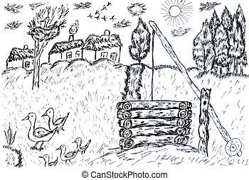 rural, bosquejo, paisaje