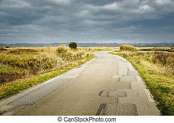rural, bretagne, route, france