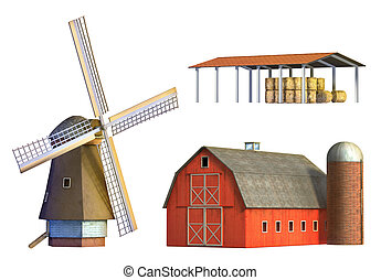 Different examples of rural architecture: windmill, barn and depot. Digital illustration, clipping path included.