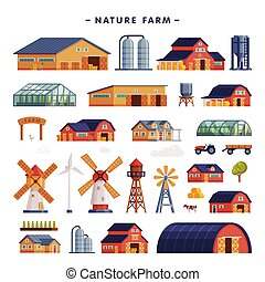 Rural Buildings Set, Barn, Country House, Windmill, Greenhouse, Wind Turbine, Agriculture and Farming Concept Cartoon Vector Illustration