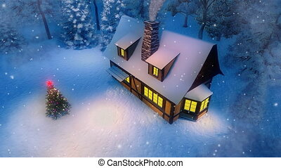 Rural cabin and christmas tree at snowy night aerial