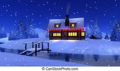 Rural cabin at snowfall winter night Cinemagraph
