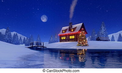 Rural cabin decorated for Christmas at snow night - Outdoor...
