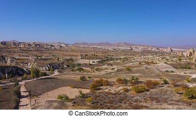 Rural Cappadocia landscape on a summer day.