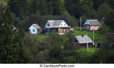 rural, carpathian, montagnes, village