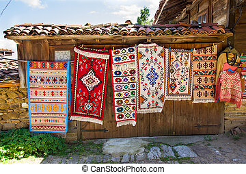 Rural carpet vernissage in Bulgaria
