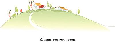 rural, casas, montaña verde