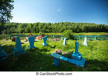 Rural cemetery in the North of Russia.