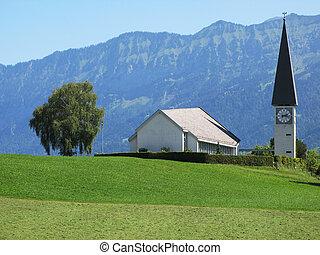 Rural church in Berner Oberland region, Switzerland