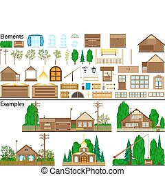 The file contains elements for drawing of rural constructions and ready examples.