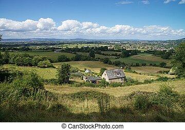 rural, cotswold, paisaje, manera