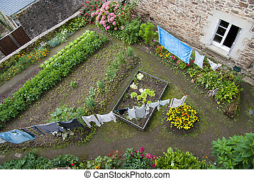 Rural courtyard - Aerial view of a rural courtyard with...