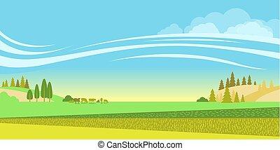 rural, cows., fundo, rebanho, campos, paisagem, vetorial, natureza