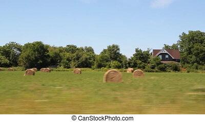 Passing bales of hay in a field. Rural Ontario, Canada.