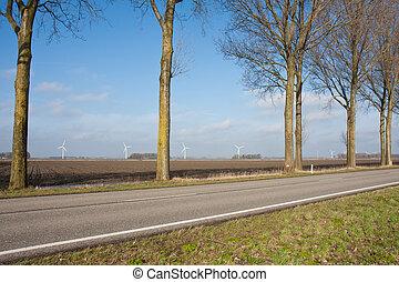 Rural Dutch landscape with windturbines
