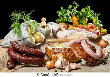 Rural Easter breakfast with fresh ingredients