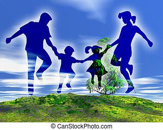 rural, familia