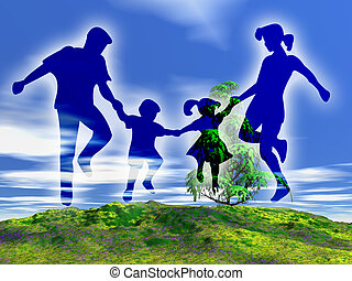 Illustration about happy family in the rural landscape