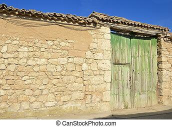 Rural farm green door
