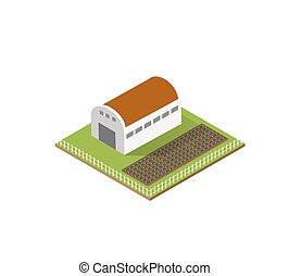 Rural farm in isometric