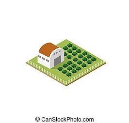Rural farm in isometric