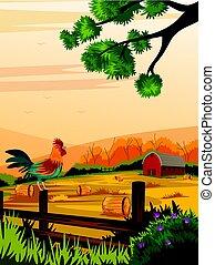 Rural farm landscape with cock