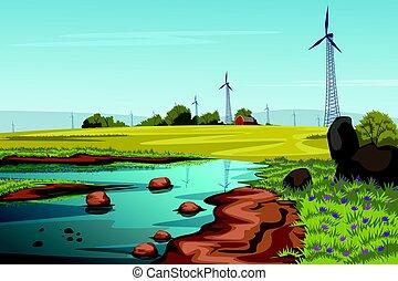 Rural farm landscape with windmill