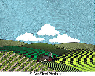 Rural Farm Scene Color - Woodcut style illustration of a...