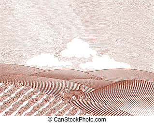 Rural Farm Scene - Woodcut style illustration of a rural...