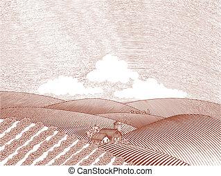 Rural Farm Scene - Woodcut style illustration of a rural...