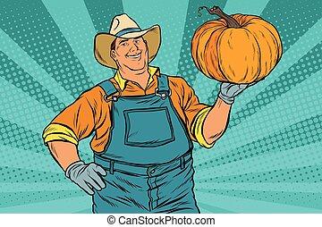 Rural farmer and pumpkin, holiday thanksgiving