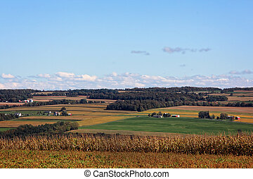 A view of vast farmland in rural New York.