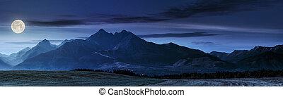rural field in Tatra mountains at night - panorama of Tatra...