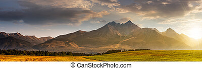 rural field in Tatra mountains at sunrise - panorama of...