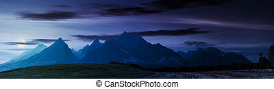 rural fields near Tatra Mountains at night - rural fields...