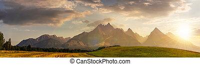 rural fields near Tatra Mountains at susnet - rural fields...