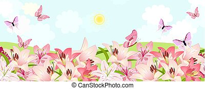 rural fields with flowering lillies and flying butterflies.