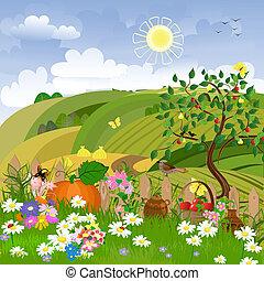 rural, fruit, paysage, arbres