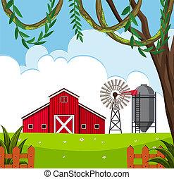 rural, grange, paysage, maison