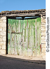 Rural green door