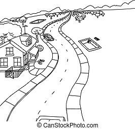 rural, habitação, construção, esboço