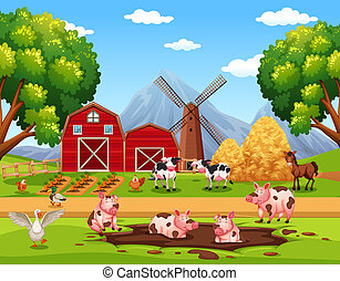 Rural happy farm animals